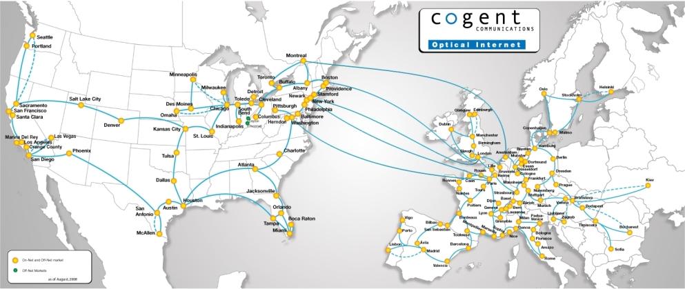 Euroopan verkkoliikennekartta optiset kaapelit